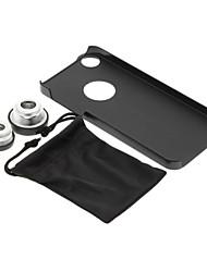 iPhone 5 / S Cell Phone Case e Fish Eye largo Macro argento Photo Lens in Set