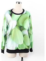 Women's O-neck Loose Casual Green Stone Print Long Sleeve Sweatshirts
