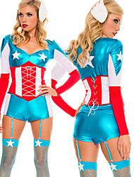 Américain de super héros bleu et costume d'Halloween de femmes rouges Polyester