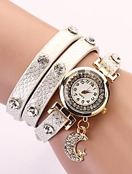 C&D Fashion Women Dress Watches Moon Pendant Leather Strap Watches XK-81