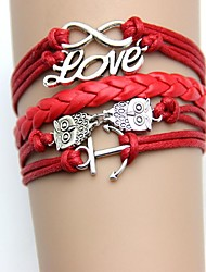 Occident Vintage Jewelery Anchors and Owl with Letter Love PU Woven Bracelet