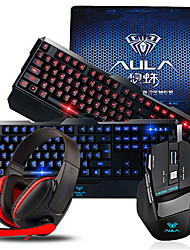 AULA USB Gaming Keyboard Mouse Kit + Mousepad + Headset