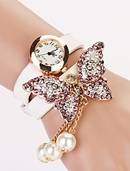 Women's White Dial Diamond Two-layer Band Butterfly Pearl Pendant  Fashion Quartz Bracelet Watch  (Assorted Color)