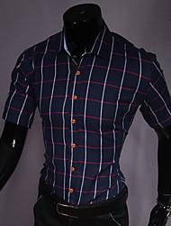 LEEBIN collare del risvolto manica corta Consulta Shirts (Navy Blue)