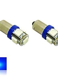 bax9s H6W 1s 5x5050 cms lumières bleues ampoule LED pour la lampe de voiture (12V DC, 2-pack)