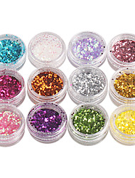 12-couleur Hexagone paillettes Nail Art Décorations