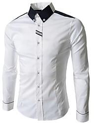 cuello de solapa camisa de la vaina de color de contraste de los hombres