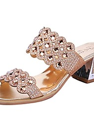 Sunfarey Women's Diamonade All Match Leisure Chunky Heel Sandals