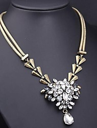 Women's Luxury Prong Glass Crystal Gemstone Pendant Necklace