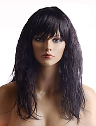 Capless Long Dark Brown Curly High Quality Synthetic Side Bang Wigs