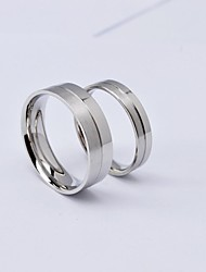 Fashion Silver Half Brush Titanium Steel Couple Rings