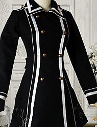 Vestido de Lolita Escuela Lana Negro manga larga de muy buen gusto
