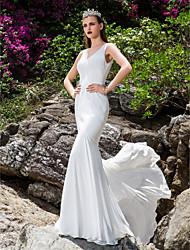 Vestido de Boda - Marfil Corte Sirena Barrida - Escote en V Gasa