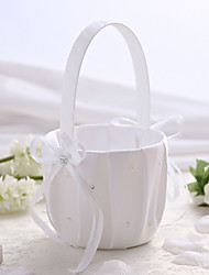 White Satin Wedding Flower Basket with Rhinestone Flower Girl Basket