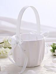 satin blanc mariage panier de fleur avec strass fille fleur panier