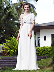 LAN TING BRIDE A-line Wedding Dress - Elegant & Luxurious Simply Sublime Sweep / Brush Train One Shoulder Stretch Satin Georgette with