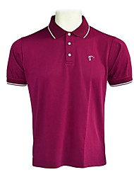 TTYGJ Men's Combed Cotton Short Sleeve Dark Purple Polo Shirt