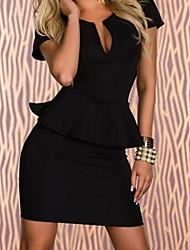 HDXS   Sexy Deep V Neck Over Hip Short Sleeves Dress With Falbala
