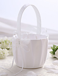 White Satin Wedding Flower Basket with Butterfly Design Flower Girl Basket
