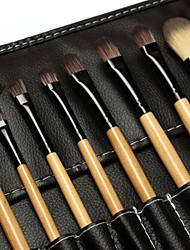 18pcs Makeup Brushes set Natural Timber/wood handle powder/Blush/concealer brush eyeshadow/brow/eyeliner/lip brush Cosmetic Brush Black Leather Bag