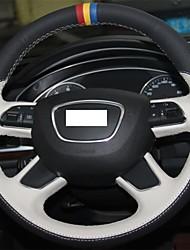 Xuji ™ Noir Blanc Couverture Volant en cuir véritable de roue pour Audi A7 A8 Q7