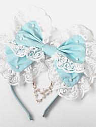 Handmade синего хлопка лук Сладкая Лолита головной убор с бисером