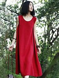 De las mujeres Vestido Casual Midi Lino