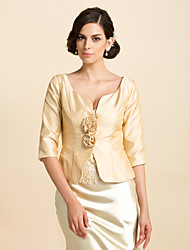 3/4 Sleeves Taffeta Special Occasion Mother Of The Bride Evening Jacket/ Wedding Wrap(More Colors) Bolero Shrug