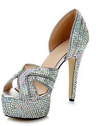 Leather Women's Wedding Stiletto Heel Platform Sandals with Rhinestone & Zipper Shoes