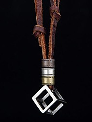 Men's Personality Cut Work Box Leather Rope NeckLace