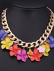 Women's New Senior Alloy Color Flower Necklace
