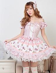 Dulce rosado Bastante Lolita Strapless vestido de princesa con clase precioso Cosplay