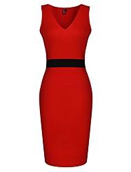 SSMN Frauen mit V-Ausschnitt, figurbetontes ärmelloses Kleid