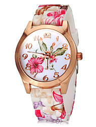 Women's Watch Fashion Colorful Flower Pattern Silicone Band Cool Watches Unique Watches