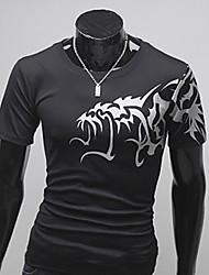 Casual em torno do pescoço camiseta Masculina Sameul