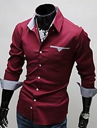 Слава воротник рубашки с длинным рукавом Классический Внутри плед украшения рубашка