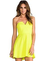 Women's Solid Orange/Yellow Dress , Sexy/Party Strapless Sleeveless