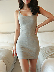 YiLuo Sexy Round Collar Bodycon Vest Dress (Gray)
