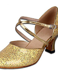 Shoes Show Women's Leather Arch Strap Chunky Heel Social Dance Soled Heel Shoes Heel 6CM(Gold)