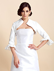 3/ 4-Length Sleeves Taffeta Bridal Evening Jacket/ Wedding Wrap Bolero Shrug