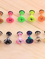 Lureme®316L Surgical Titanium Steel Stoving Varnish Screw Cap Single Stud Earrings (Random Color) Christmas Gifts