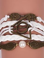 bracelets en cuir alliage multicouche hibou et ailes charmes bracelets bijoux faits à la main