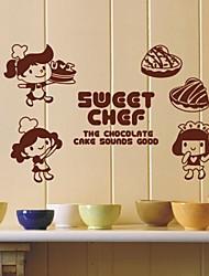 Pessoas pequeno feliz parede Chef Stickers