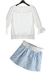 Women's Summer Fashion Trends New Solid Bubble Lace Suit(Shirt & Skirt)