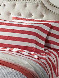 Thick Red Stripe Sheet Set, 4 Pieces 100% Cotton