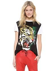 Haoduoyi ™ The Tiger testina di stampa sciolti T-shirt girocollo