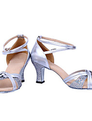 Schuhe zeigen Frauen Paillette Leder Arch Strap Blockabsatz Social Dancing Shoes Heel 6cm (silbrig)