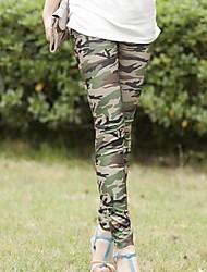 kvinners grønne tynne slanke elastiske utskrift leggings