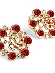 Fashion Beautiful Delicate  Cabinet Rose Crystal Stud Earrings