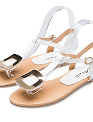 lulu Peep-Toe T Type Pure Color Sandals(White,Purple,Multi-Color)